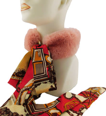 Rose Rex Rabbit Scarf with Red/Gold Silk Ribbon - paulamariecollection