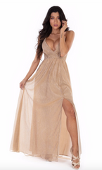 Golden Goddess Halter Dress - paulamariecollection