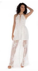 Serenity Long Lace Skirt Dress - White - paulamarie