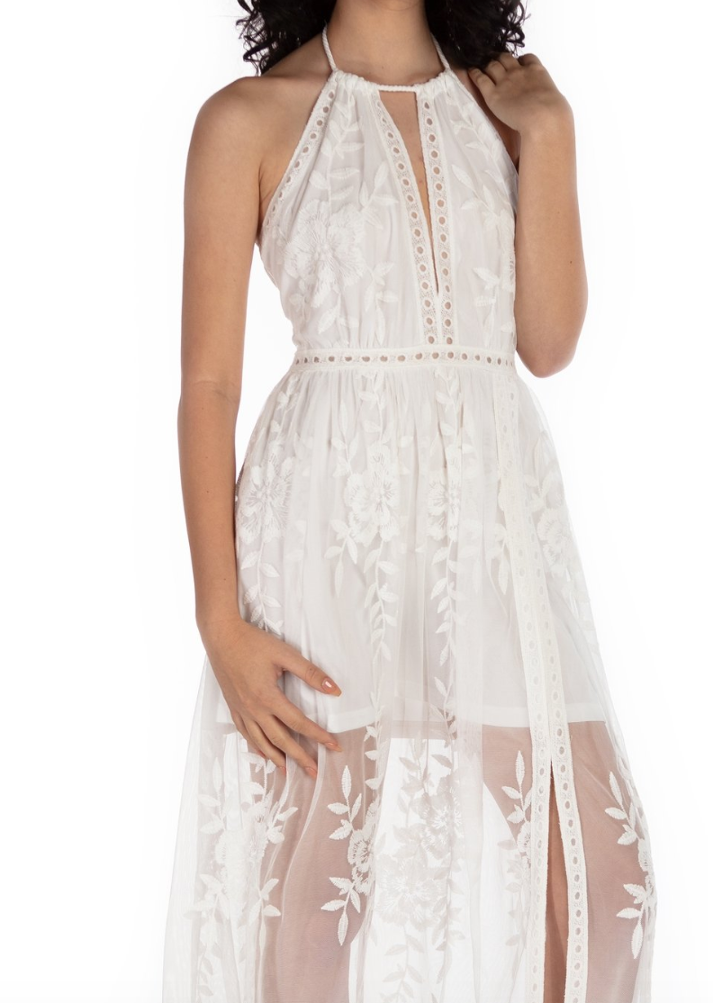 Serenity Long Lace Skirt Dress - White - paulamariecollection