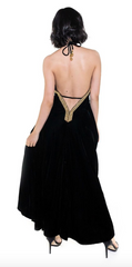 Monte Carlo Velvet High Low Dress With Embellishments - paulamarie