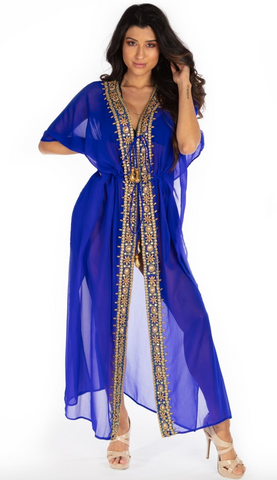 Santorini Long Kaftan Robe With Embellishments - paulamarie