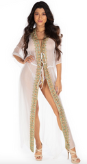 Santorini Long Kaftan Robe With Embellishments - paulamariecollection