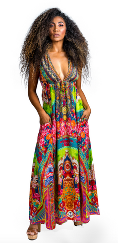 Zimbabwe Long Maxi Dress With Pockets - paulamarie
