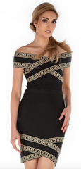 Greek Goddess Off The Shoulder Bandage Dress - paulamariecollection
