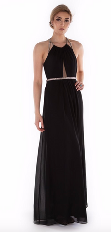 Diamante Black Evening Gown - paulamarie