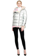 THE AIRDRIE Metallic Jacket with Multicolor Fox Fur Trim - paulamariecollection