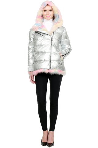 Metallic Jacket with Multicolor Fox Fur Trim - paulamarie