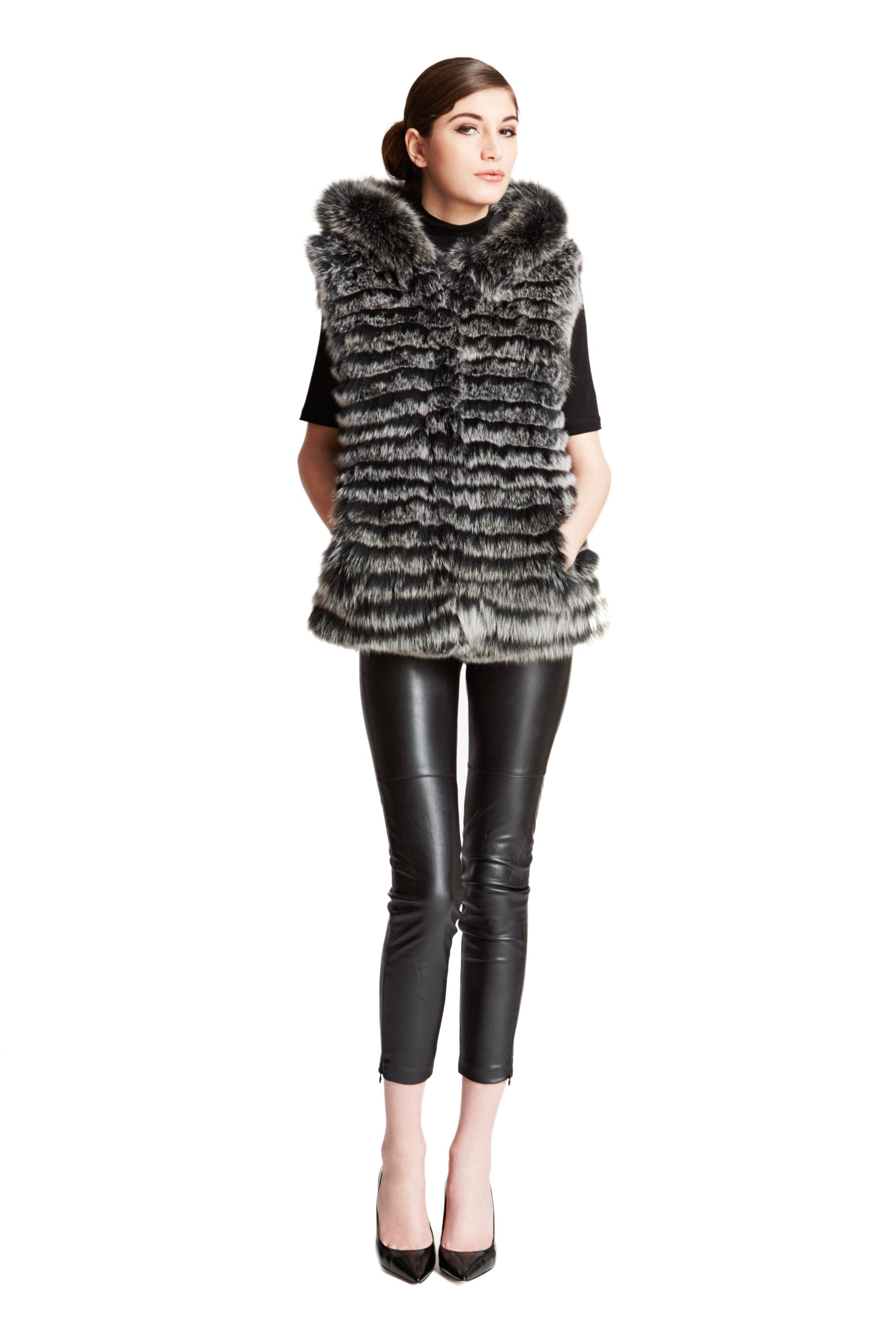 Reversible Micro-Fabric Fox Fur Vest - paulamarie