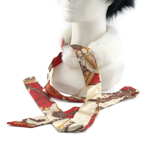 White Rex Rabbit Scarf with Red/Gold Silk Ribbon - paulamarie