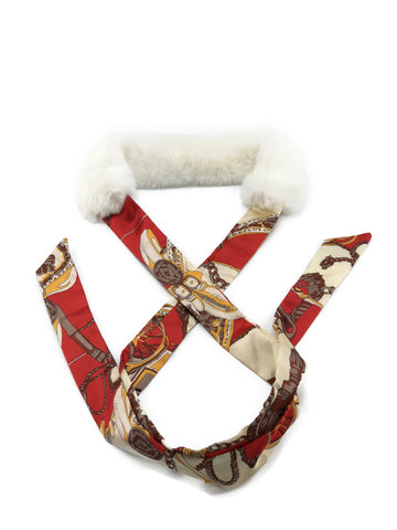 White Rex Rabbit Scarf with Red/Gold Silk Ribbon - paulamariecollection
