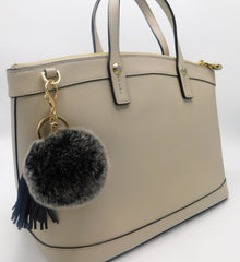 Rex Rabbit Pom Keychain with Leather Tassels - paulamarie