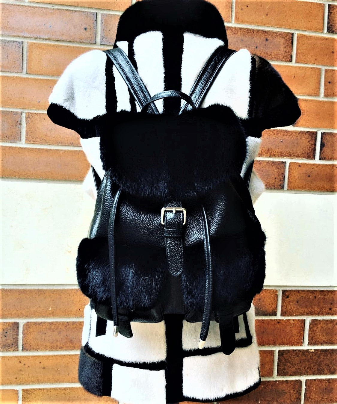 Black Mink and Leather Backpack Purse - paulamarie