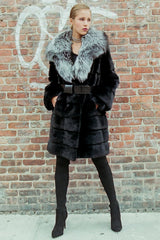 THE BOLTON Full Skin Mink Coat with Plush Silver Fox Collar - paulamariecollection