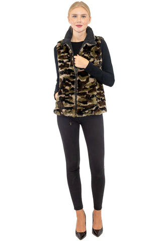 THE NARVA Reversible Camo Rex Rabbit and Microfabric Jacket