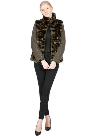 Reversible Camo Rex Rabbit and Microfabric Jacket - paulamarie
