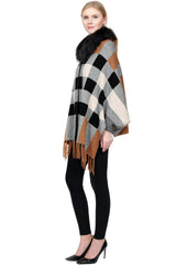 THE ADARE Checkered Cashmere Blend Sleeve Cape with Detachable Silver Fox Trim - paulamariecollection