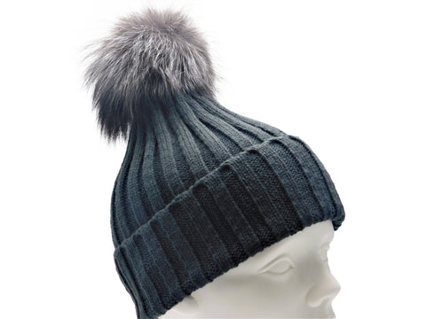 Knitted Beanie with Removable Fox Fur Pom - paulamariecollection