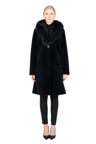 THE FENLAND Sheep Fur Coat with Detachable Fox Collar - paulamariecollection