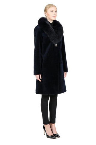 THE FENLAND Sheep Fur Coat with Detachable Fox Collar