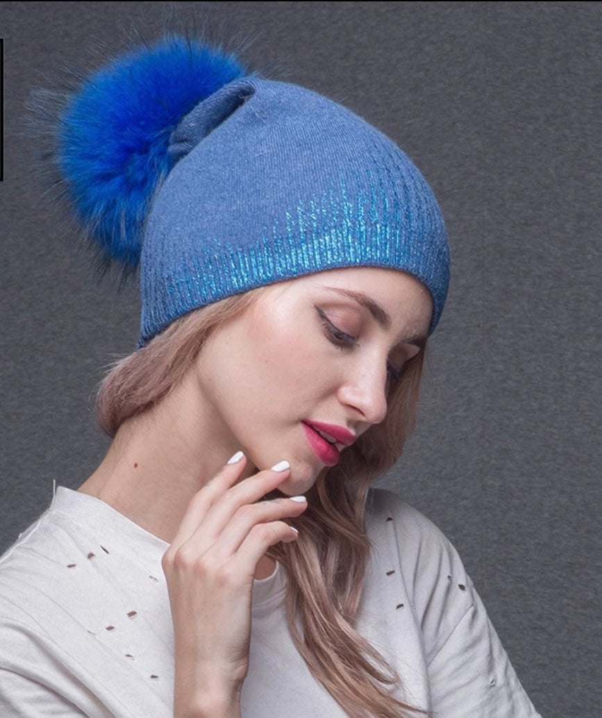 Metallic Gradient Cashmere Beanie with Pom - paulamariecollection