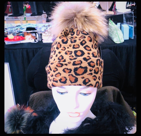 Leopard pom pom hat with removable pompom - paulamariecollection