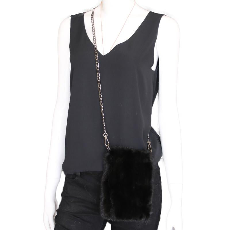 Mink Fur Black Crossbody Purse - paulamarie