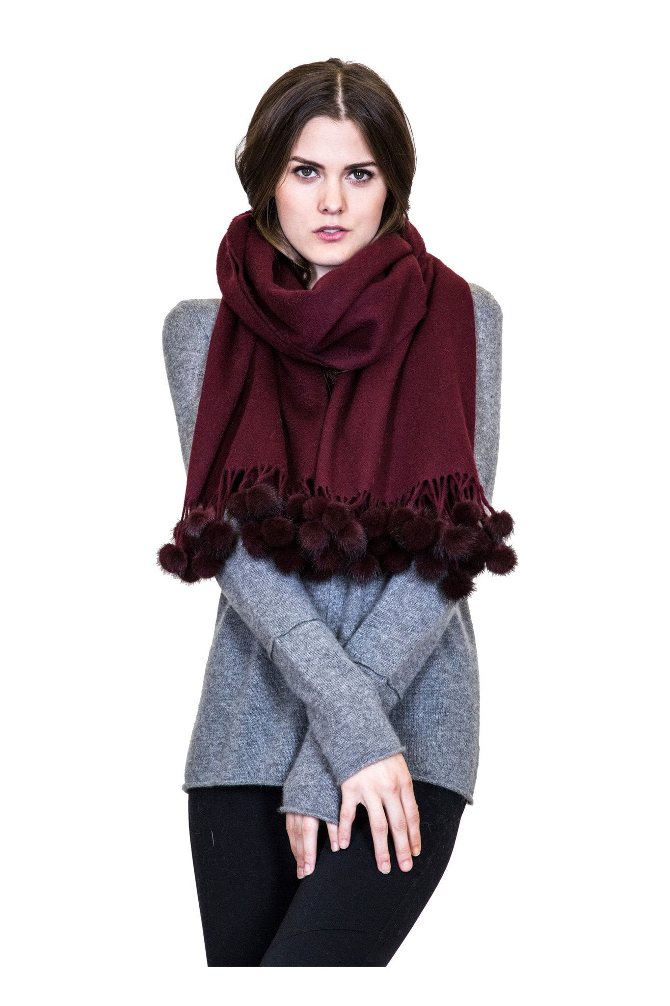 THE ZELL Cashmere Scarf with Mink Fur Poms - paulamariecollection