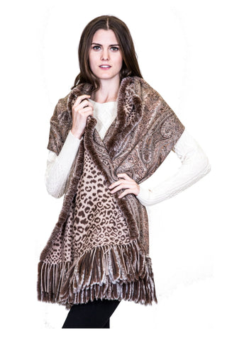 THE SALFORD Cashmere Reversible Printed Wrap with Rex Rabbit Fringe - paulamarie