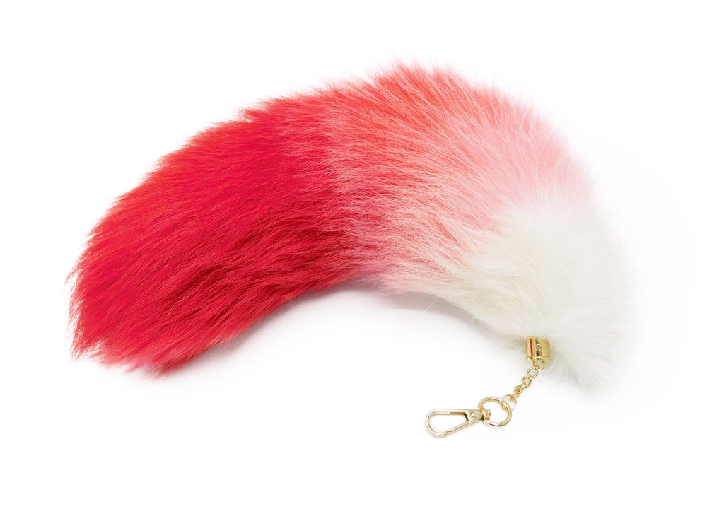 Red and White Clip-on Fox Tail Keychain - paulamariecollection