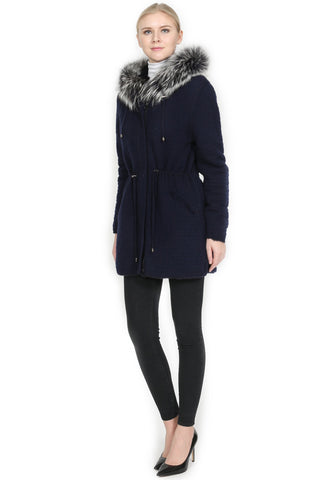 THE SELKIRK Reversible Rex Rabbit Fur Jacket with Silver Fox Trim Hood - paulamariecollection