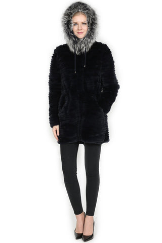 THE SELKIRK Reversible Rex Rabbit Fur Jacket with Silver Fox Trim Hood