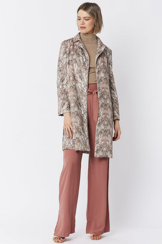 Faux Suede Snakeskin Effect Trench Jacket