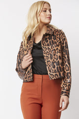 Snake Print Biker Cropped Jacket - paulamariecollection