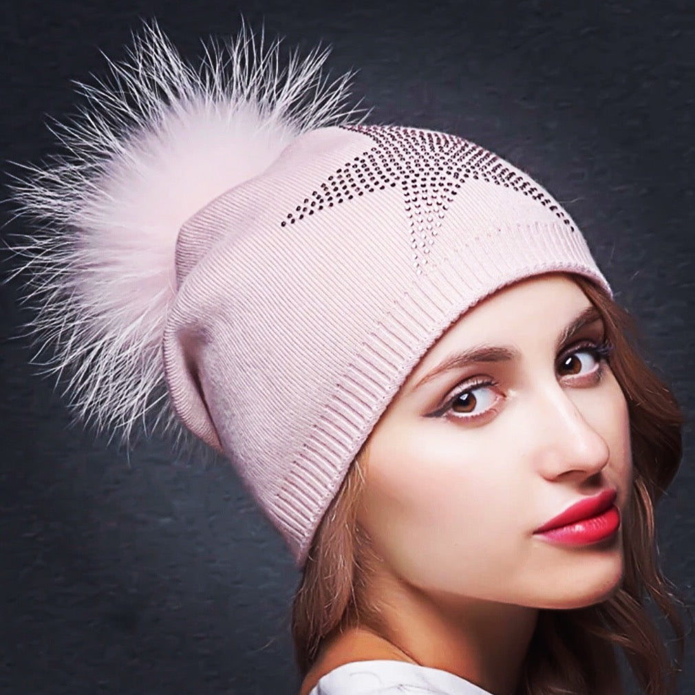 Cashmere Fox Pom Pom Hat with Crystals - paulamariecollection