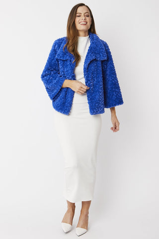 Blue Faux Fur Teddy Jacket