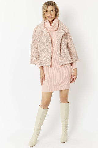 Pink Faux Fur Teddy Jacket