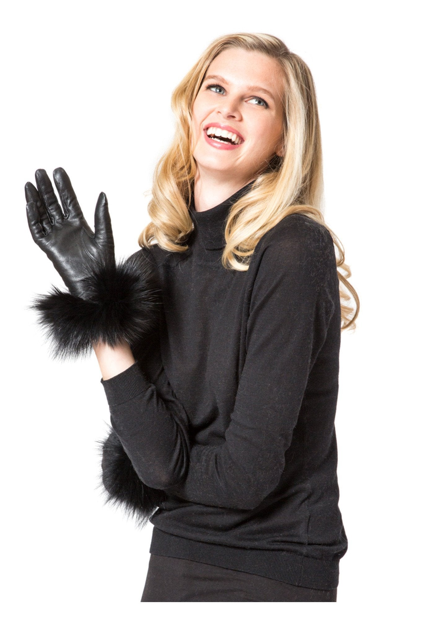 THE TULA Short Leather Gloves with Fox Trim - paulamariecollection