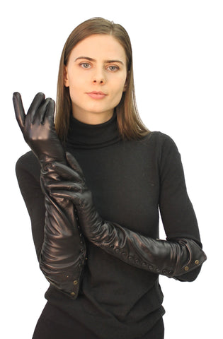 THE VACHA Long Leather Gloves with Snap Closures - paulamariecollection