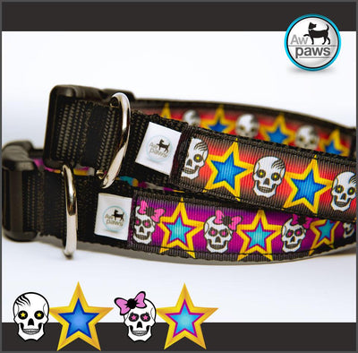 Skulls and Stars Dog Collar - Aw Paws