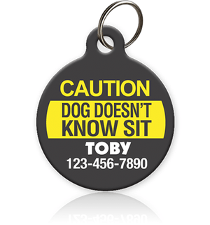 Caution Dog Pet ID Tag - Aw Paws