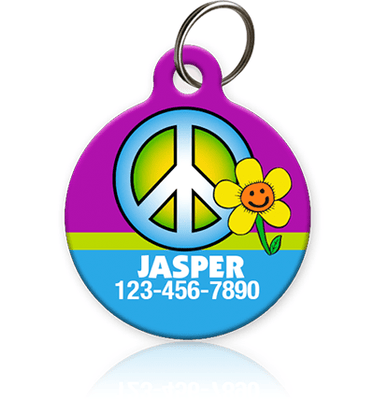 peace sign pet id tag