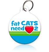 Fat Cats Need Love 2 Cat ID Tag - Aw Paws