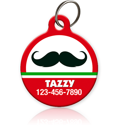 Holiday Mustache Pet ID Tag