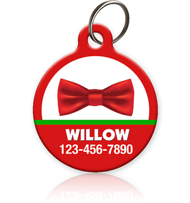 Holiday Bow Tie Pet ID Tag