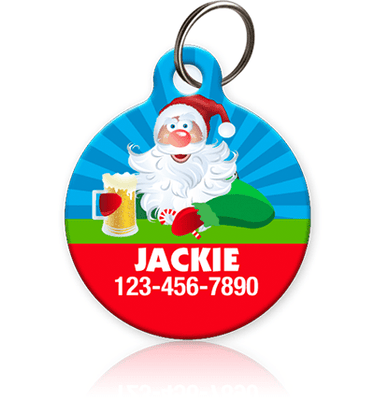 Drunk Santa Pet ID Tag