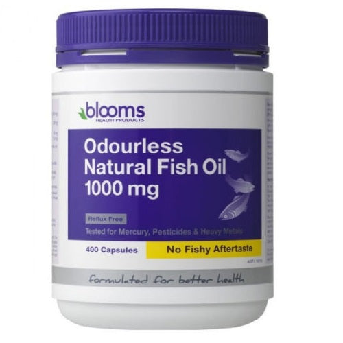 Blooms Odourless Omega 3 400Caps Natural Fish Oil 1000mg Fish Oils | BLOOMS
