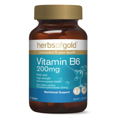 VITAMIN B6 200mg 60Tabs B6 | HERBS OF GOLD