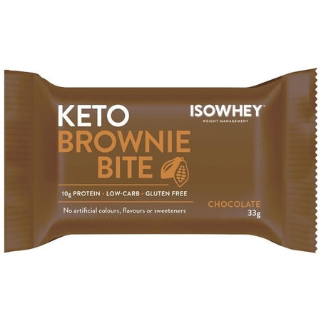 keto brownie bar chocolate 33g 10pk | ISOWHEY WEIGHT MANAGEMENT