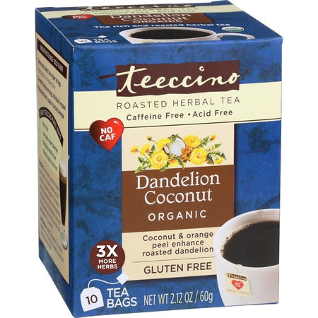 COCONUT DANDELION CAFFEINE FREE HERBAL COFFEE TBAG (BX10) | TEECCINO